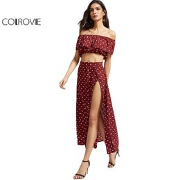 Wholesale Maxi Skirt Dotted - COLROVIE Polka Dot Two Piece Set Women Sexy Ruffle Vintage Crop Top With Maxi Skirt Set 2017 Summer Cute Casual Two Piece