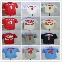 Wholesale men dexter - Men Baseball jerseys 4 Yadier Molina 25 Dexter Fowler 1 Ozzie Smith Jerseys Flex Base Cool Base stitched Embroidery jersey