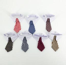 colletto di gatto rosso Sconti New Pet Dog Striped Tie collar Cat Bow Cute Dog Cravatta da sposa regolabile Puppy Red / Blue / Khaki spedizione gratuita p99C