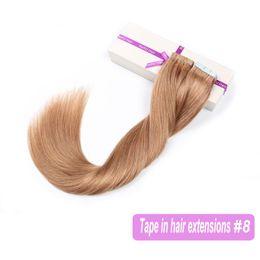 Cheveux clairs de peau marron en Ligne-Seamless Remy Tape dans les extensions de cheveux SHOWJARLLY qualité Real Human Hair Light châtain clair professionnel bande sur la peau trame Hair Extension