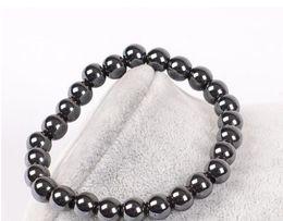 Pulseras de piedras preciosas online-Mens Healing 6MM 8mm Black gallstone hematite Buddha beads couples health Semi-precious Stone men women Bracelet Jewelry