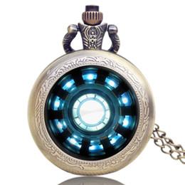 Filme de bolso on-line-Moda relógio de bolso Homem de Ferro Filmes Extensão Tony Stark Relógio de Bolso bonito Cadeia Relógio Colar por presentes dos meninos crianças