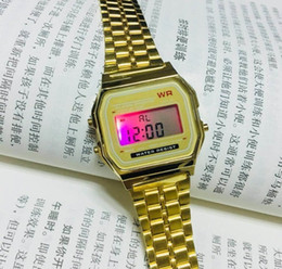 Wholesale Metal Digital Watches - Ultra-thin gold cold light LED watches F-91W neutral leisure multi-functional DZ7333 metal electronic digital Men's watch GA100