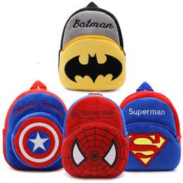 Wholesale Plush Batman - New backpack cartoon the Avengers plush backpack superman Spiderman batman Captain America boy bag for kids schoolbags mochila