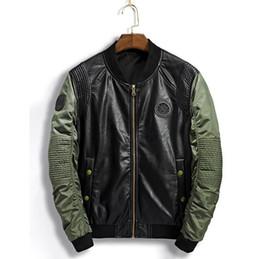 бейсбольная кожная сшивка Скидка 2018 осень мужская бейсбольная куртка искусственная кожа стежка мода куртка зимнее пальто новый дизайн мужская куртка блейзер пиджаки размер M-3XL DSWSL109