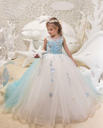 Wholesale kids cheap prom dresses - 2018 Cute Ball Gown Girls Kid Prom Pageant Gowns Lace Applique Handmade Flowers Cheap Flower Girls Dresses Tiered Children Birthday Dress
