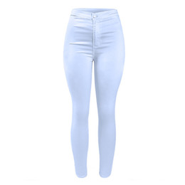 Wholesale Trouser Jeans For Women - Women`s High Waist White Basic Casual Fashion Stretch Skinny Denim Jean Pants Trousers Jeans for Women