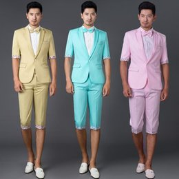 Wholesale Men S Grooming Set - Pink green sky blue summer 2017 new arrival slim color men suit set with pants mens suits wedding groom dress suit + pant + tie