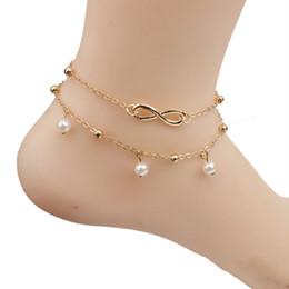 a073d9e4cbb6 ... Vintage Beach tobillera pulsera infinito joyería del pie perla del grano  de oro cadena de plata tobilleras moda verano cadena del pie para las  mujeres