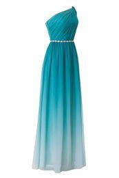 Canada Sassy 2018 One Shoulde A-ligne Dégradé de couleur Robes de bal Perles Sash Zipper Side Robes de soirée avec drapé Ruched Maid of Honor Robes Offre