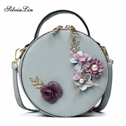 симпатичные маленькие сумки плеча totes Скидка Women Bag Female Handbags Leather Shoulder Bag Crossbody  Tote Handbag Round Flower Black Cute Small Fashion Bags
