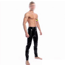 Wholesale Flat Front Pants - Wholesale-fashion sexy Black latex pants for men fetish rubber trousers with front zipper plus size Hot sale