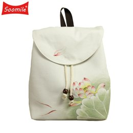 Wholesale chinese art canvas - Characteristics of Chinese wind Hand-painted shoulder bag Literature and art Female shoulder knapsack Fashion women Backpack NEW