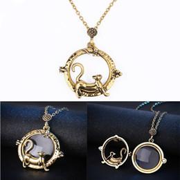 Colar de lupa do vintage on-line-Colar de Pingente de gato Magnifying Glass Necklace Vintage Declaração Colar Mulheres Jóias Presente de Natal Livre DHL D553S