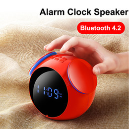 Wholesale mirrors audio - Portable Bluetooth Speaker With Alarm Clock Sound Box LED Mirror HandsFree Bass For Cellphone TF Card Play Loudspeaker
