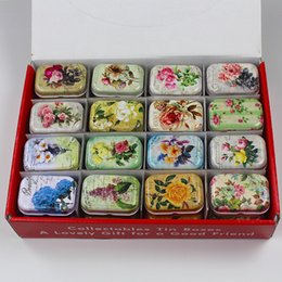 mini tea tin box Canada - 32pcs lot Exquisite Vintage Flower Printing Mini Tin Box Storage Box for Jewelry Wedding Favor Candy Coins Pill Tea Case