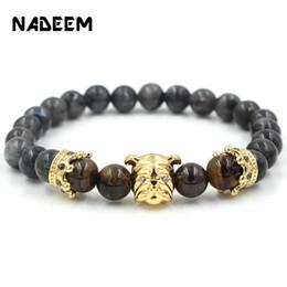 Мужская головная коронка онлайн-Fashion Animal Gold Color Micro Pave CZ Bulldog Head & Crown Bracelet Men Tiger Eye Stone Beaded Bracelet Jewelry Pulseiras