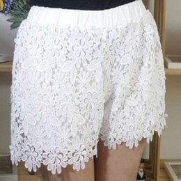 Wholesale Korean Cute Sexy - 2018 Korean Style Sexy Lace Shorts Womens Summer Casual Sweet Cute Short Pants Plus Size Elastic Waist Black White Shorts