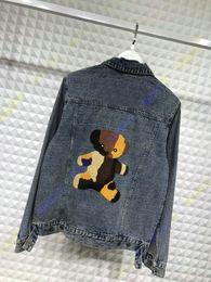 Wholesale luxury clothes for men - 2018 embroid flocking bear letter autumn designer luxury brand clothing jean jacket for men denim jackets coat women clothing Outerwear