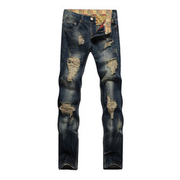 Jeans metrosexual online-Hole Metrosexual Straight Destroyed Jeans Brand Slim Casual Ripped Jeans Homme Retro Men 's Denim Pantalones Hot Sale Quality Cotton