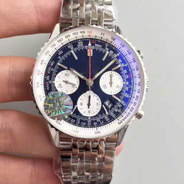 Wholesale eta watches - Mens Top JF Factory Movement Automatic Chronograph BL watches Asia ETA 7750 Divers 43MM Top Luxury Sapphire Divers Business Wristwatches