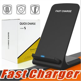 Wholesale Charger Stands - 2 Coils Fast Wireless Charger Qi Wireless Charging Stand Pad for Apple iPhone X 8 8Plus Samsung Note 8 S8 S7 all Qi-enabled Smartphones