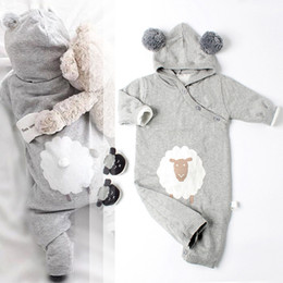 Wholesale rompers for boy toddlers - New Arrival Baby Rompers Toddler Boys and Girls Knitted Hooded Jumpsuit Fashion Newborn Overalls for Autumn and Winter