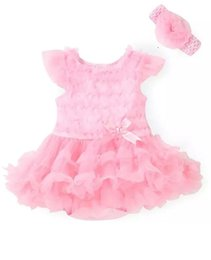 Wholesale infant flower costumes - New 2018 Pink Baby Girl lace Tutu Dresses Newborn Infant Jumpsuit Flowers Fashion Summer Sets Rompers and Headband baby Costume B11