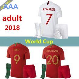 Wholesale Ronaldo T Shirts - 2018 19 Men's Soccer Jersey Plus Socks RONALDO NANI Soccer Jersey 2018 World Cup DANILO Portugal PEPE Camisetas Maillot de futol T-shirt