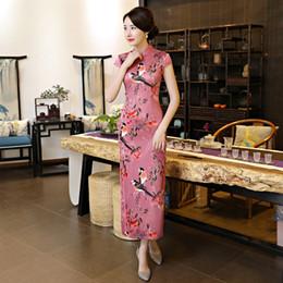 colar qipao Desconto Nova chegada magro mulheres chinesas tradicionais dress novidade impressão floral sexy cheongsam elegante gola mandarim qipao tamanho s-3xl