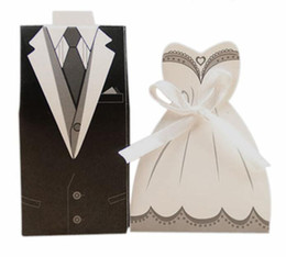 Wholesale free wedding invitations - Bride and Groom Wedding Candy Boxes Gift Box Party Supply Creative Wedding Invitations 100pcs lot free shipping