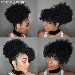 Wholesale Natural Hair Bangs Extensions - Variety Short human hair ponytail with bang clip in high afro kinky curly human hair drawstring ponytail hair extension for black women 120g