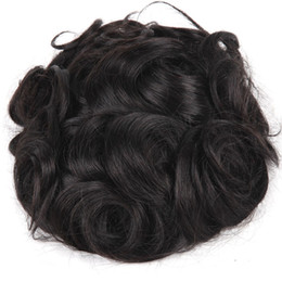 Wholesale human hair toupee for men - Men's Wig Hairpiece Human Hair Toupee Wig Mono Base Breathable Toupee for Men System Wavy Style(8x10 #1B)