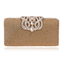 Sacchetto di sera piccolo dell'oro online-New Crown Metal Elegante piccola festa da sera con tracolla a catena Borse in argento / nero / oro Diamonds Purse Day Clutch Evening Bag