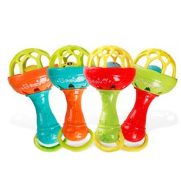 Wholesale funny baby boy - Baby Toy Develop Intelligence Grasping Hand Bell Rattle Teeth Gum Funny Learning Toys For Children Gifts 3bl W