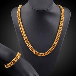 18k gold gefüllte kubanische links Rabatt Mens Thick Tight Link 18k vergoldet gefüllt Miami Cuban Link Kette und Armband Set 1cm breit (24