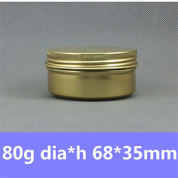 Wholesale Cosmetic Tin Cans Wholesale - 2.8pz Candle Golden Aluminum Container 80g Empty Cosmetics packaging Metal Bottle Aluminum Jar 80ml Cream Cans Round Tin Gold Jar