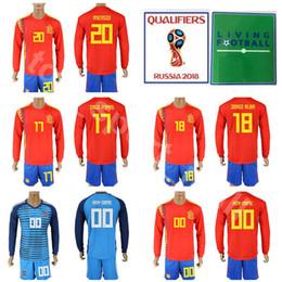 Wholesale spain long sleeve - Long Sleeve Spain Jersey Set Men Soccer 18 JORDI ALBA 17 IAGO ASPAS 5 BUSQUETS 20 ASENSIO 8 XAVI 2018 World Cup Football Shirt Kits Full Red