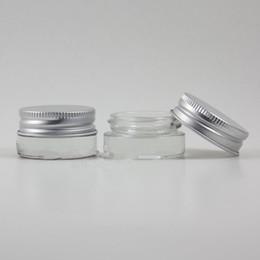 Campione grammi grammi online-Vaso per crema di vetro smerigliato 5g con coperchio in alluminio argentato, vaso cosmetico da 5 grammi, confezione per campione / crema per gli occhi, mini bottiglia di vetro da 5g