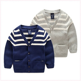 Wholesale kids striped sweaters - New arrival Kids sweaters wholesale single-breasted V-neck striped cardigan Boys Autumn 100%cotton clothes children clothing Free shipping B