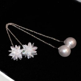 Wholesale Earrings Snowflake Long - New woman lady s925 silver pin cute zircon diamon glittering snowflake pearl long charm pendent designer fashion dangle chandelier earrings