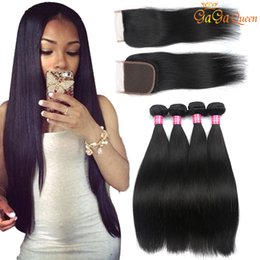 Wholesale Medium Brown Closure - Brazilian Straight Hair Bundles With 4x4 Lace Closure Unprocessed Grade 8A Lace Closure With Human Hair Bundles Brazilian Straight Hair
