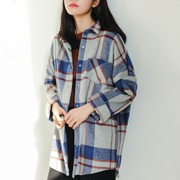 Wholesale Plaid Blouse Batwing - Harajuku Women Blouse Plaid Shirts Long Sleeve Shirt Loose Thin Woolen Brushed Thick Blouse Coat Women's Shirt