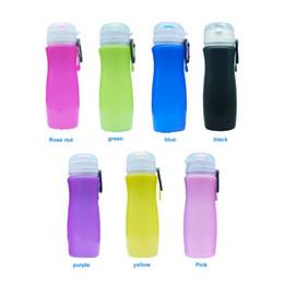 jaula de botella de carbono verde Rebajas El viaje plegable de la taza del silicón suministra la caldera de la bicicleta de los deportes de la botella de agua