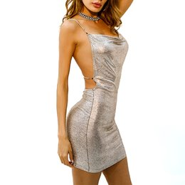 Wholesale Metal Neck Dress - 2018 Sexy sleeveless Deep-V Halter Split Sequin Dress Women Solid Color Backless Metal Party Dresses RF0881