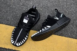 Wholesale Flat Sharks - 2018 Original Box NMD R1 NEIGHBORHOOD x Boost The Shark Casual Running Shoes for Mens Women Black White NMDs Outdoor Sports Sneakers 36-45