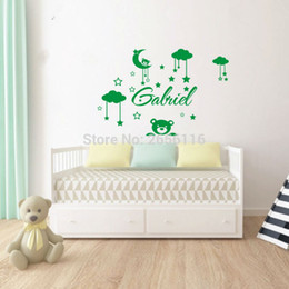Wholesale Bear Wall Decals - DIY Teddy Bear Vinyl Wall Sticker Personalized Name Moon Stars Clouds Mural Decals for Kids Room Decor