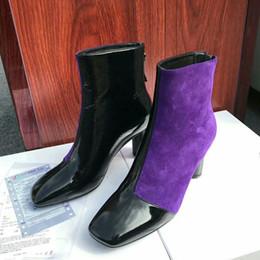 d3f28ccc066 2019 botas de noche negras 2019 Nuevo Otoño Invierno Púrpura Botas negras  Mujer tacón alto Punta
