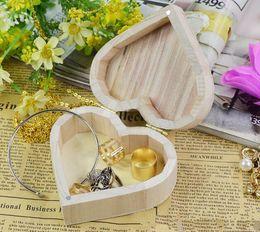 Wholesale candy wedding rings - Storage Box Heart Shape Wood Box Jewelry Box Wedding Gift Makeup Cosmetic Earrings Ring Desk Rangement Make Up Wooden Organizer