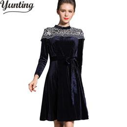 Wholesale Velour Robes - Spring Fall Velour Dress Women Long Sleeve Pleated Lace Patchwork Elegant Velvet Corduroy Dresses Robe Vintage Vestido